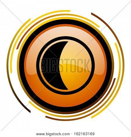 Moon sign vector icon. Modern design round orange button isolated on white square background for web and application designers in eps10.