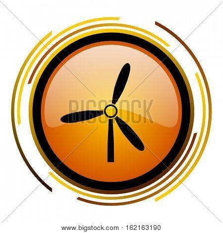 Wind turbine sign vector icon. Modern design round orange button isolated on white square background for web and application designers in eps10.