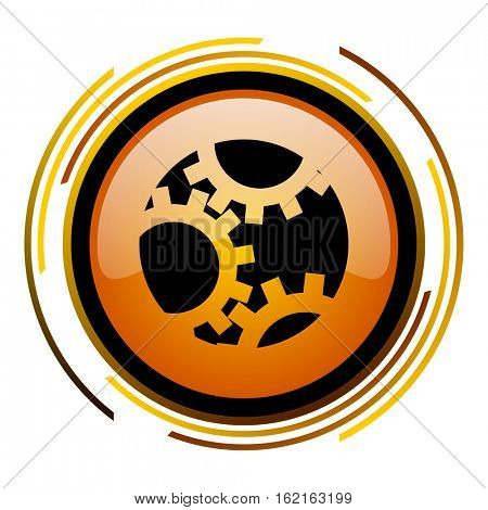 Technology wheels vector icon. Modern design round orange button isolated on white square background for web and application designers in eps10.
