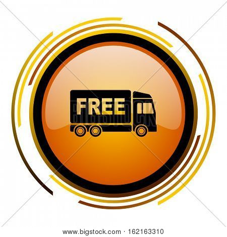 Free delivery truck sign vector icon. Modern design round orange button isolated on white square background for web and application designers in eps10.
