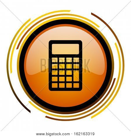 Calculate sign vector icon. Modern design round orange button isolated on white square background for web and application designers in eps10.