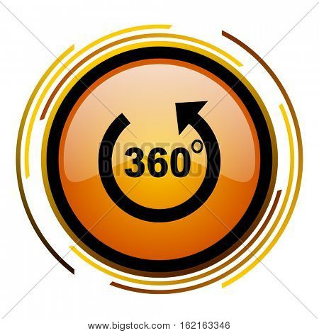 360 degree panorama sign vector icon. Modern design round orange button isolated on white square background for web and application designers in eps10.
