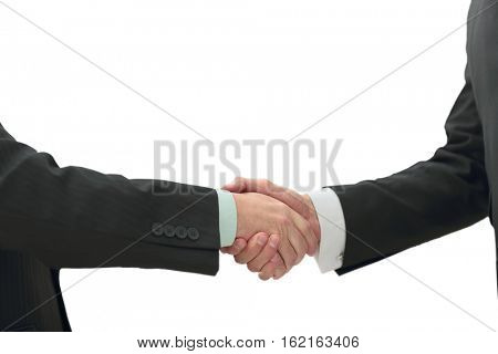 Closeup - Welcome handshake before the start of negotiations at