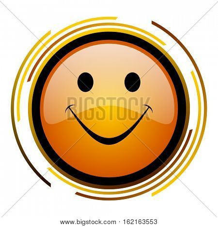 Smile face sign vector icon. Modern design round orange button isolated on white square background for web and application designers in eps10.