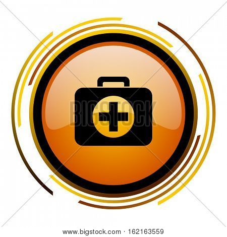 First aid kit sign vector icon. Modern design round orange button isolated on white square background for web and application designers in eps10.