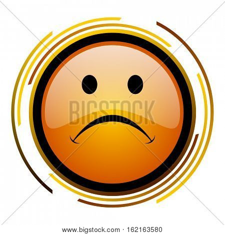 Cry face sign vector icon. Modern design round orange button isolated on white square background for web and application designers in eps10.