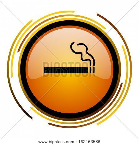 Cigarette tobacco sign vector icon. Modern design round orange button isolated on white square background for web and application designers in eps10.