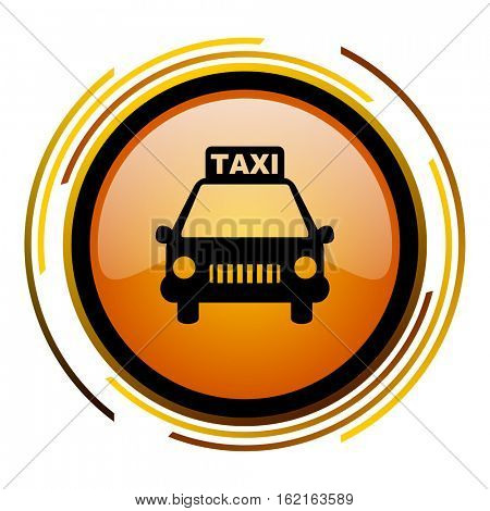 Taxi sign vector icon. Modern design round orange button isolated on white square background for web and application designers in eps10.