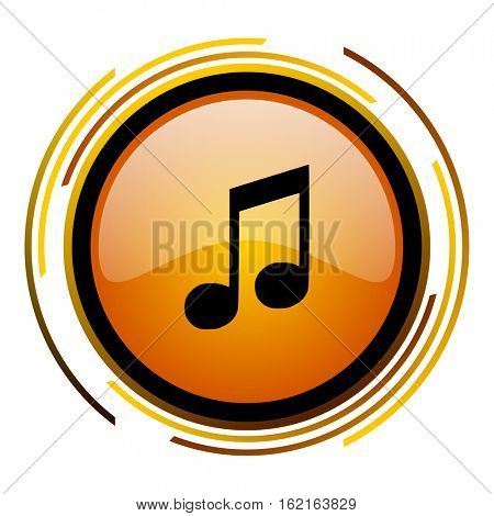 Music note sign vector icon. Modern design round orange button isolated on white square background for web and application designers in eps10.