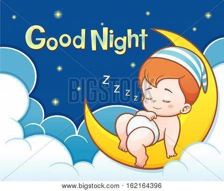 Vector Illustration of Cartoon Cute Baby Sleeping on the moon with Good night text