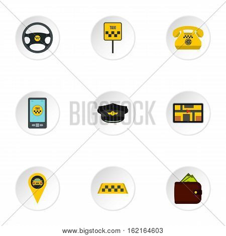 Taxi order icons set. Flat illustration of 9 taxi order vector icons for web