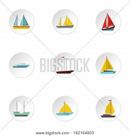 Yacht icons set. Flat illustration of 9 yacht vector icons for web