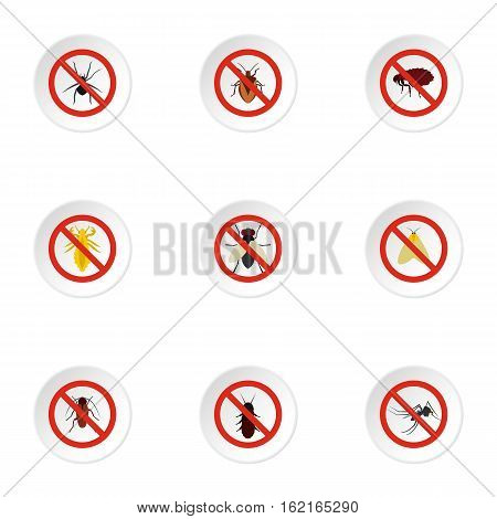 Harmful insects icons set. Flat illustration of 9 harmful insects vector icons for web
