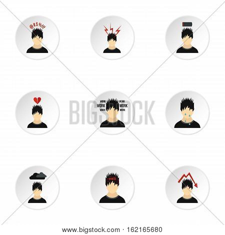 Emotions icons set. Flat illustration of 9 emotions vector icons for web