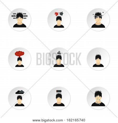 Human feelings icons set. Flat illustration of 9 human feelings vector icons for web