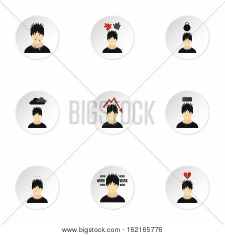 Emotions types icons set. Flat illustration of 9 emotions types vector icons for web