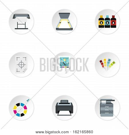 Printing icons set. Flat illustration of 9 printing vector icons for web