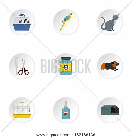 Veterinary things icons set. Flat illustration of 9 veterinary things vector icons for web