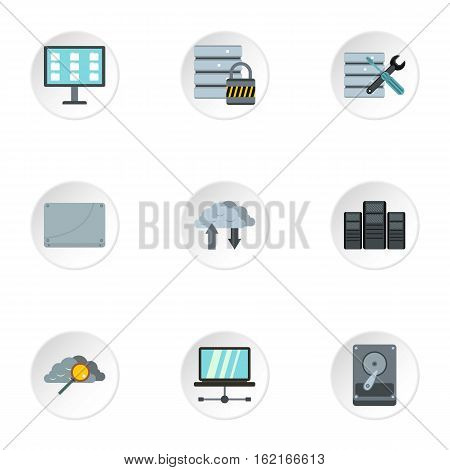 Computer setup icons set. Flat illustration of 9 computer setup vector icons for web