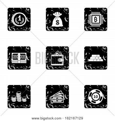 Bank icons set. Grunge illustration of 9 bank vector icons for web