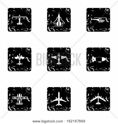 Aircraft icons set. Grunge illustration of 9 aircraft vector icons for web
