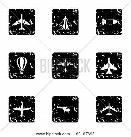 Military aircraft icons set. Grunge illustration of 9 military aircraft vector icons for web
