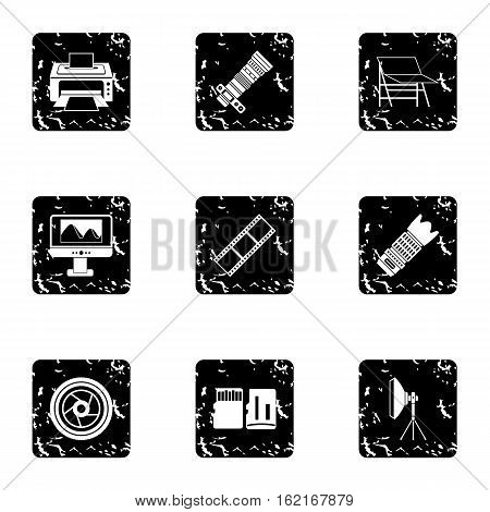 Photography icons set. Grunge illustration of 9 photography vector icons for web