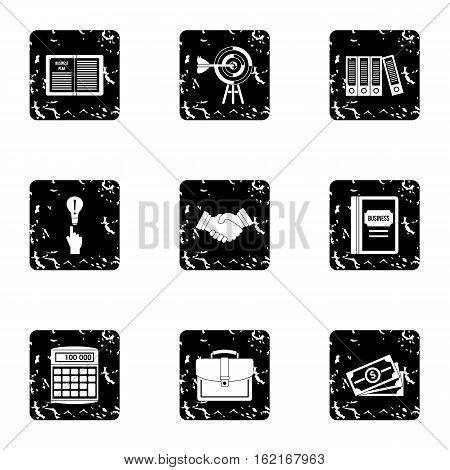 Earnings icons set. Grunge illustration of 9 earnings vector icons for web