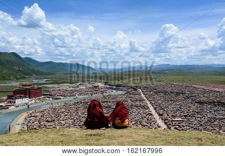 Tibetan Monk Sitting On The Hill In Sichuan, China
