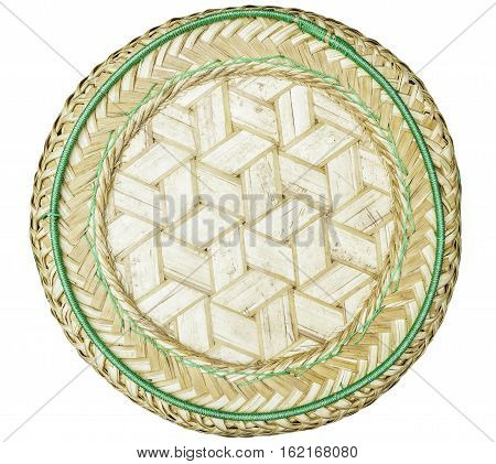 Top view of bamboo basketry isolated from white background.
