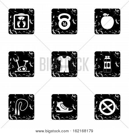 Classes in gym icons set. Grunge illustration of 9 classes gym vector icons for web