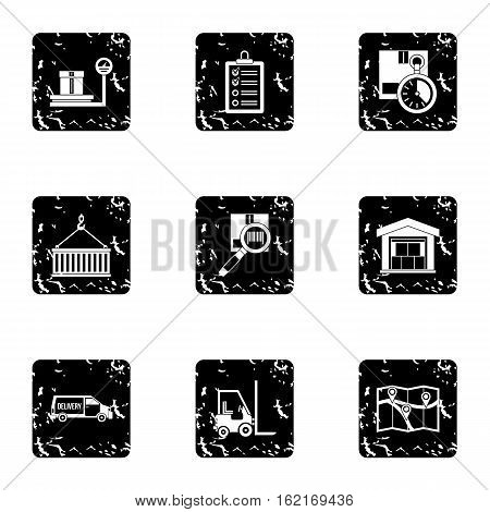 Cargo packing icons set. Grunge illustration of 9 cargo packing vector icons for web