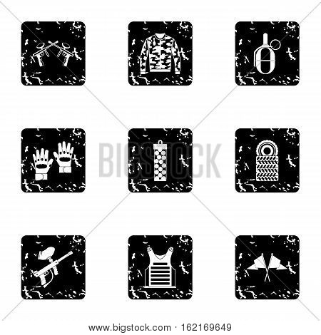 Paintball club icons set. Grunge illustration of 9 paintball club vector icons for web