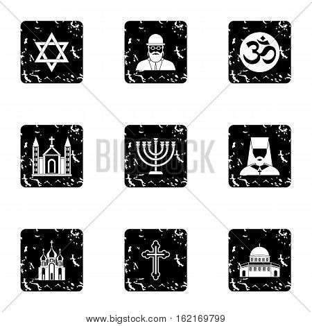 Religious faith icons set. Grunge illustration of 9 religious faith vector icons for web