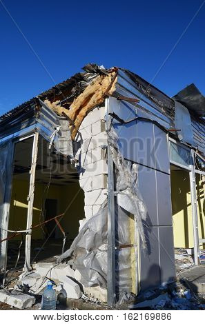 Small busineses destructed and marauded by professional ukrainian patriots to free urban space for shop Roshen.TM Roshen is property of Ukrainian president Poroshenko.December 15,2016,Kiev, Ukraine