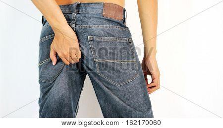 Man has Diarrhea Holding his Butt: on White Background