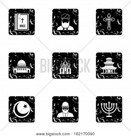 Spirituality icons set. Grunge illustration of 9 spirituality vector icons for web