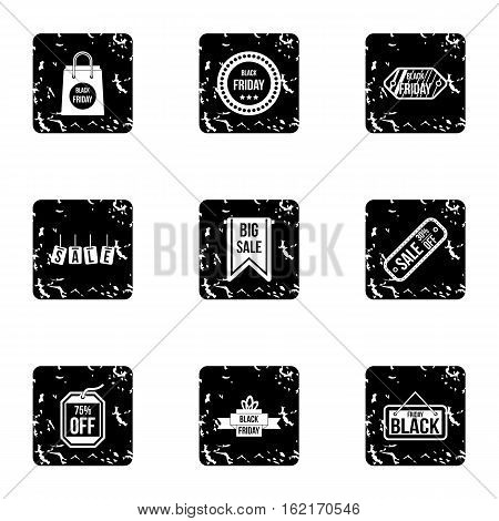 Big sale icons set. Grunge illustration of 9 big sale vector icons for web