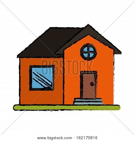 drawing orange house home property round window vector illustration eps 10