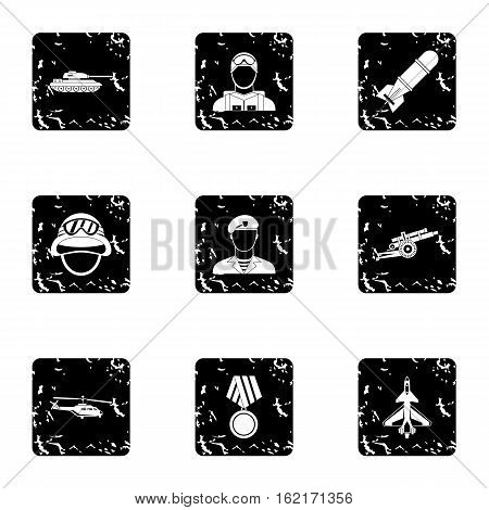 Equipment for war icons set. Grunge illustration of 9 equipment for war vector icons for web