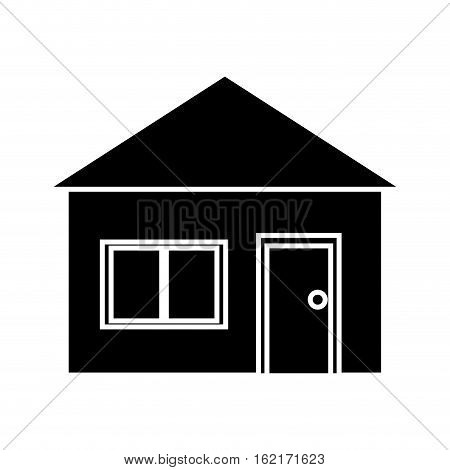 silhouette house suburban architecture green grass vector illustration eps 10