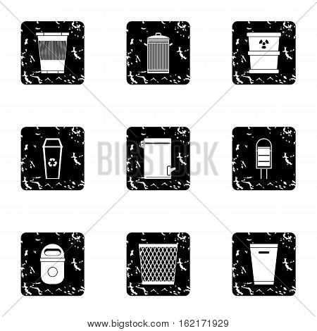 Rubbish bin icons set. Grunge illustration of 9 rubbish bin vector icons for web