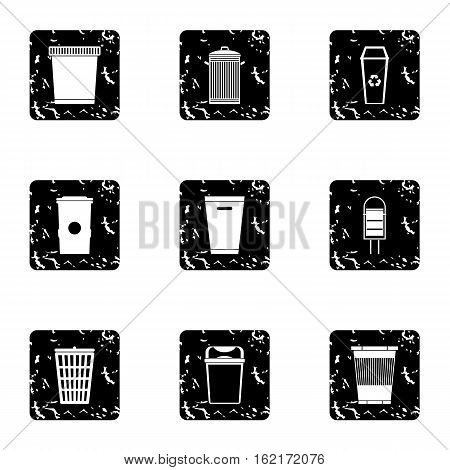 Waste rubbish icons set. Grunge illustration of 9 waste rubbish vector icons for web