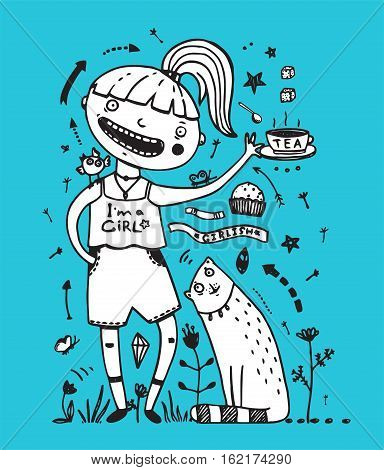 Girlish style cartoon of teenager kid and animals tea party signs collection. Vector illustration.