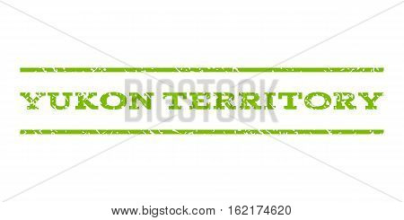 Yukon Territory watermark stamp. Text caption between horizontal parallel lines with grunge design style. Rubber seal stamp with dirty texture.