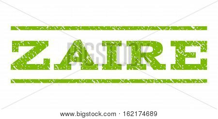 Zaire watermark stamp. Text tag between horizontal parallel lines with grunge design style. Rubber seal stamp with scratched texture. Vector eco green color ink imprint on a white background.
