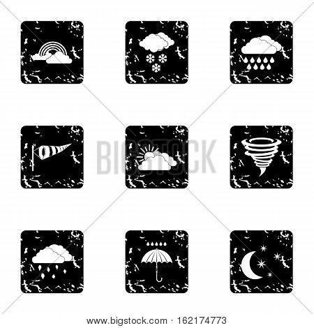 Air temperature icons set. Grunge illustration of 9 air temperature vector icons for web