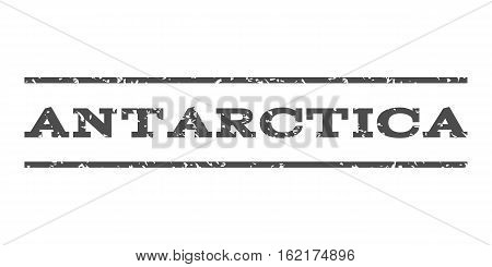 Antarctica watermark stamp. Text tag between horizontal parallel lines with grunge design style. Rubber seal stamp with dirty texture. Vector gray color ink imprint on a white background.