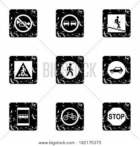 Sign warning icons set. Grunge illustration of 9 sign warning vector icons for web