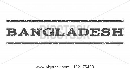 Bangladesh watermark stamp. Text tag between horizontal parallel lines with grunge design style. Rubber seal stamp with scratched texture. Vector gray color ink imprint on a white background.
